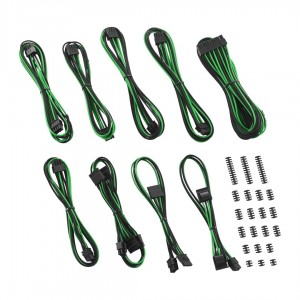CableMod Classic ModFlex RT-Series Cable Kit for ASUS ROG Thor - BLACK / GREEN (CM-RTS-CKIT-KKG-R)