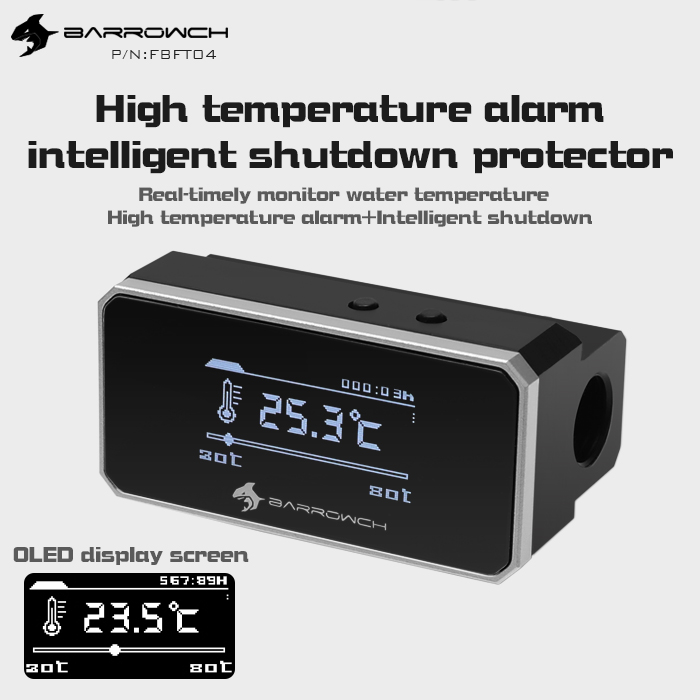 Barrowch multimode OLED display protector with alarm for overheat and Intelligent shutdown Silver