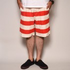 Stripes Patterned Elastic Waist 10inch Shorts/Dead Stock(ボーダーイージーショーツ)レッド×ホワイト [a-2496]